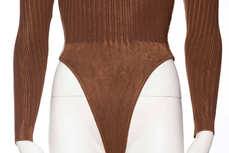 Alaia Dark Nude Body Suit In Excellent Condition For Sale In New York, NY