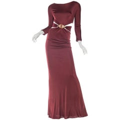 2000S ROBERTO CAVALLI Burgundy Rayon Jersey Long Sleeve Side Cut-Out Gown With