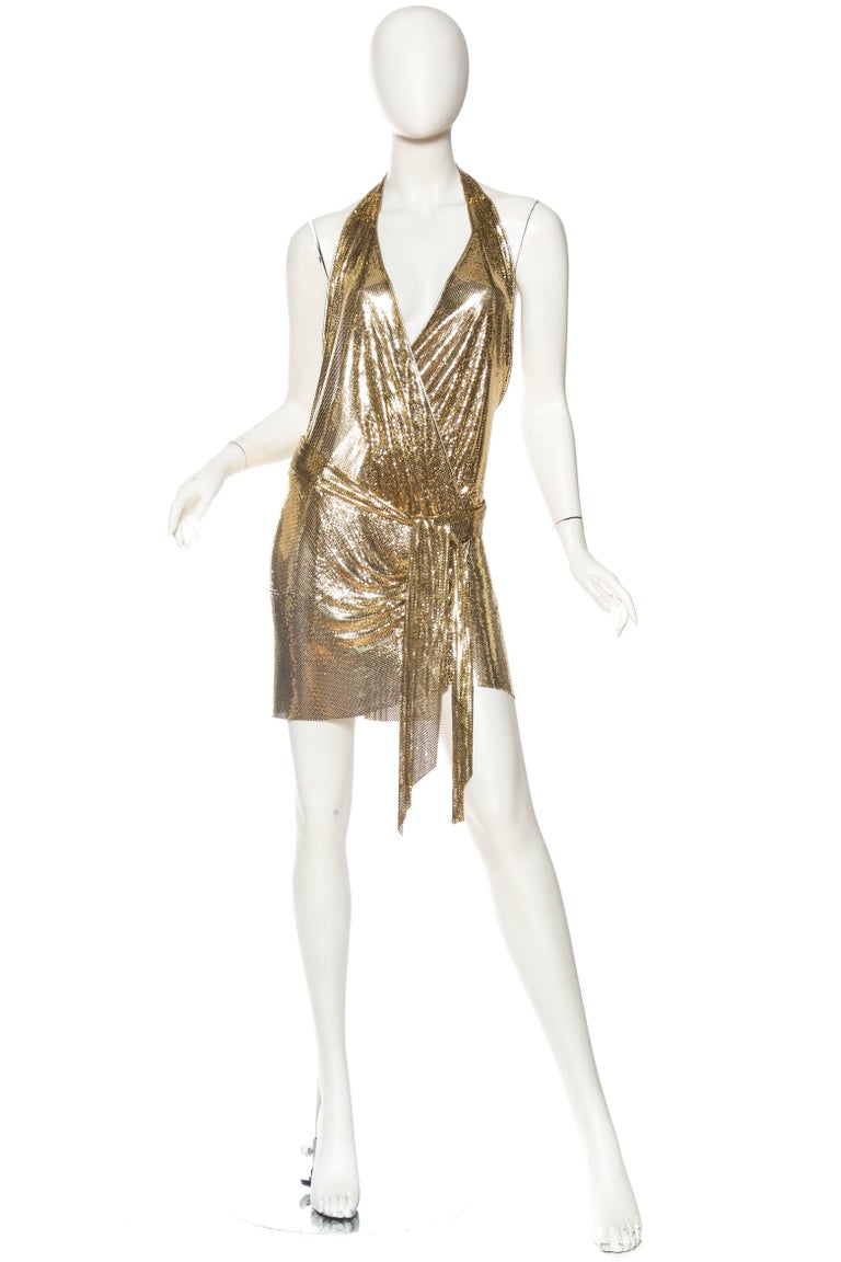Brown Morphew Backless Gold Metal Mesh Dress For Sale
