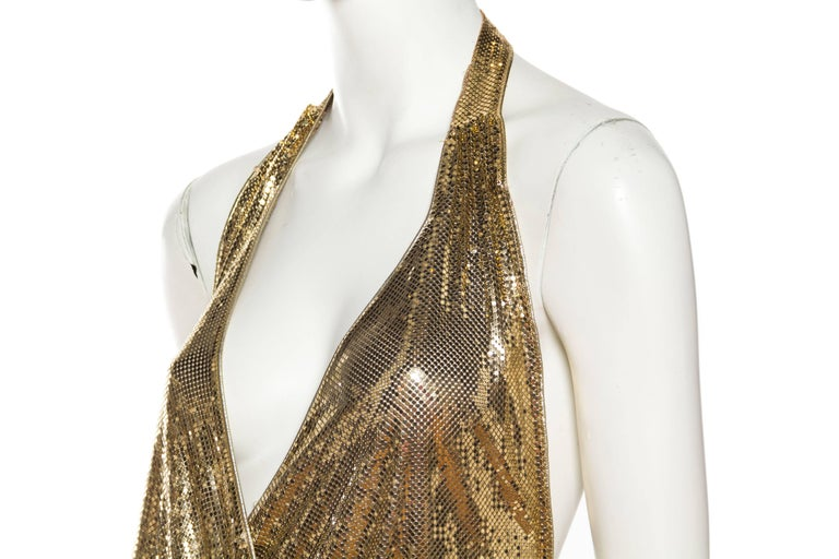 Morphew Backless Gold Metal Mesh Dress For Sale 3