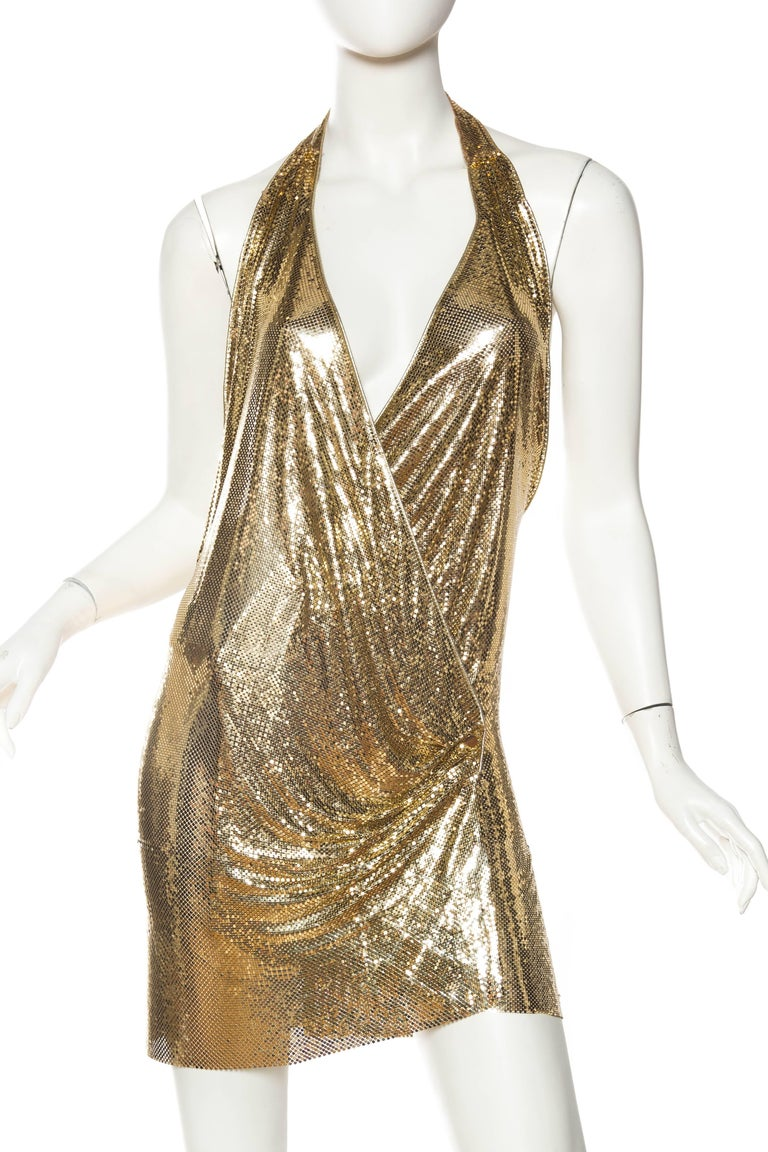 Morphew Backless Gold Metal Mesh Dress In Excellent Condition For Sale In New York, NY