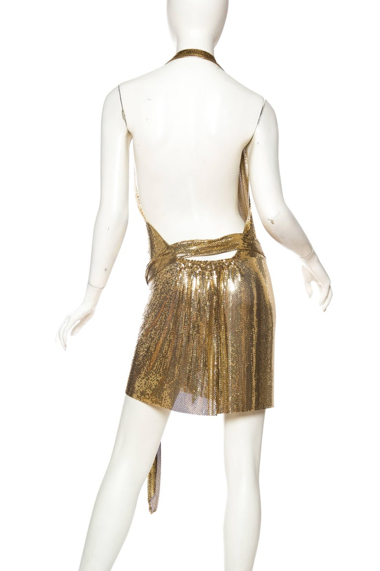 Morphew Backless Gold Metal Mesh Dress For Sale 2