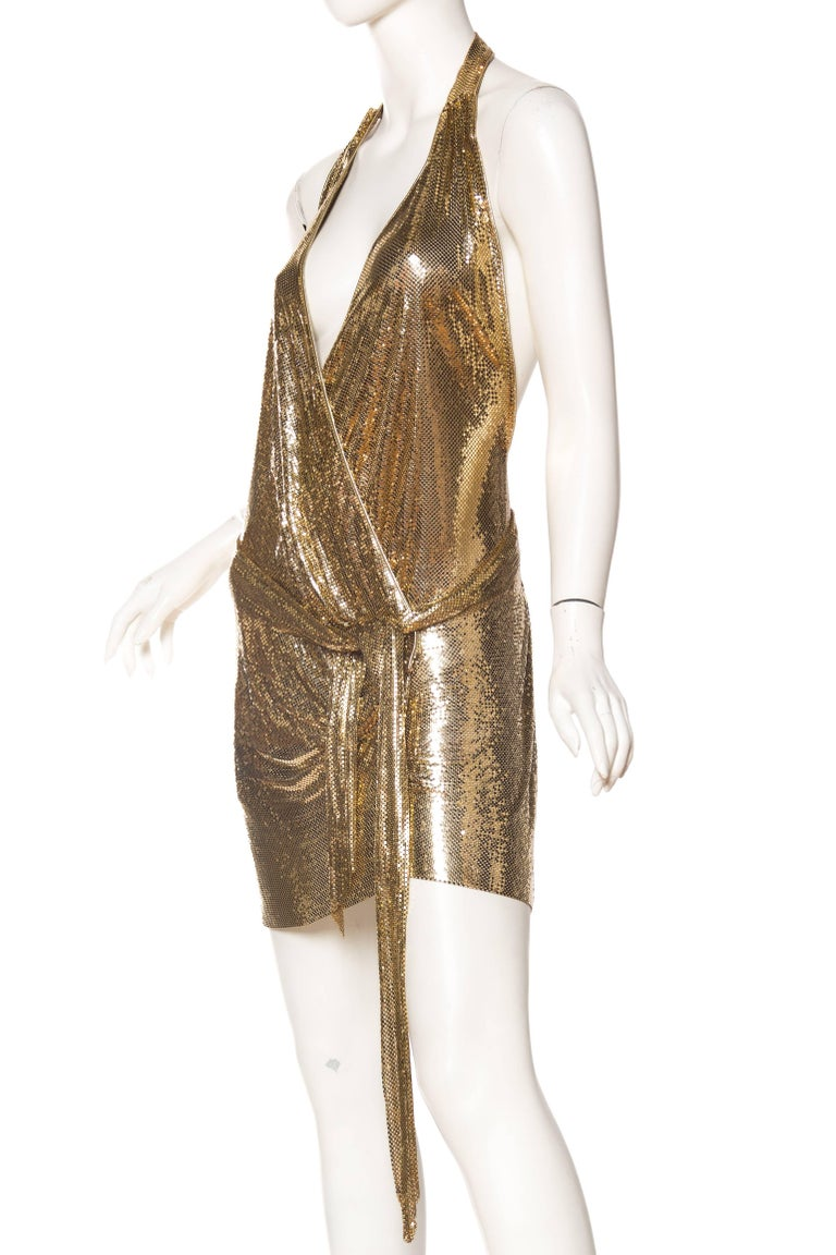 Morphew Backless Gold Metal Mesh Dress For Sale 1