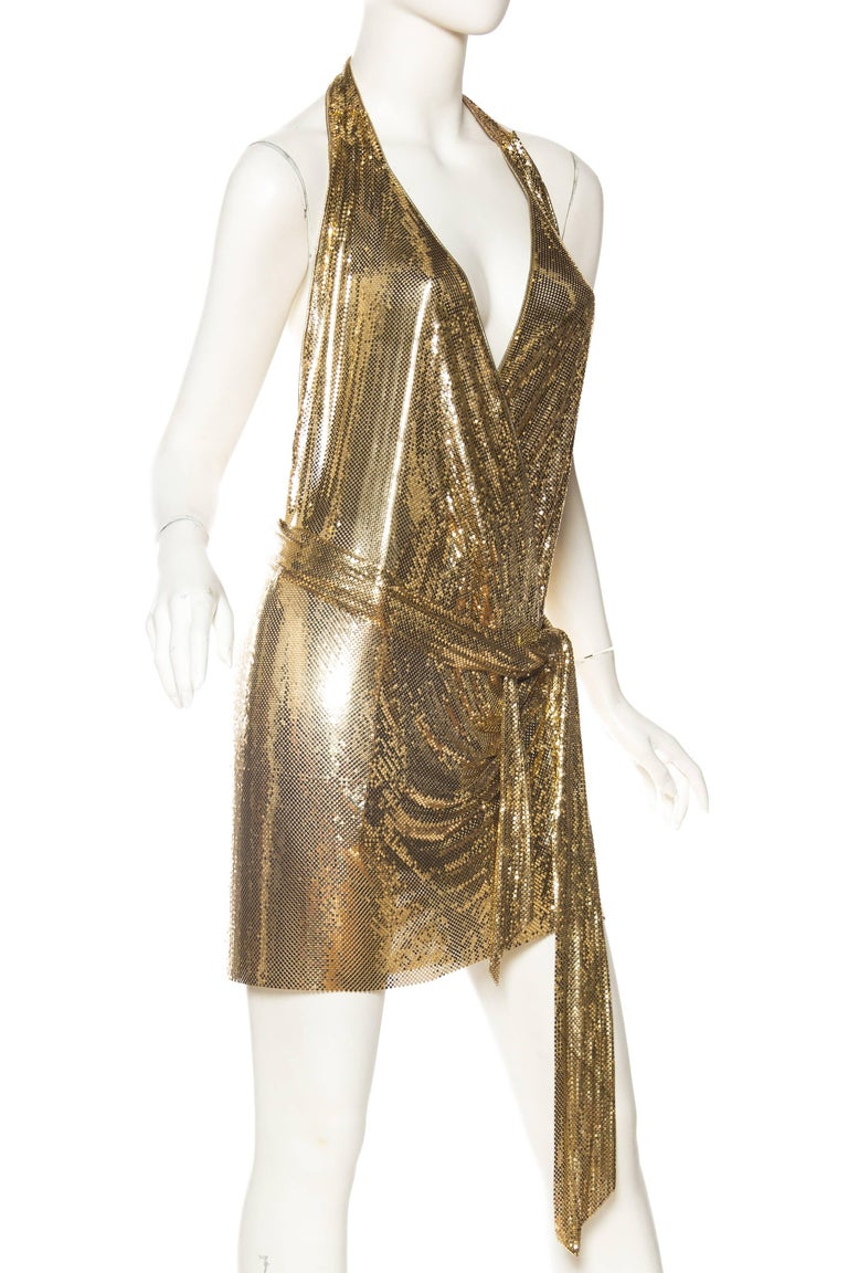 Women's Morphew Backless Gold Metal Mesh Dress For Sale
