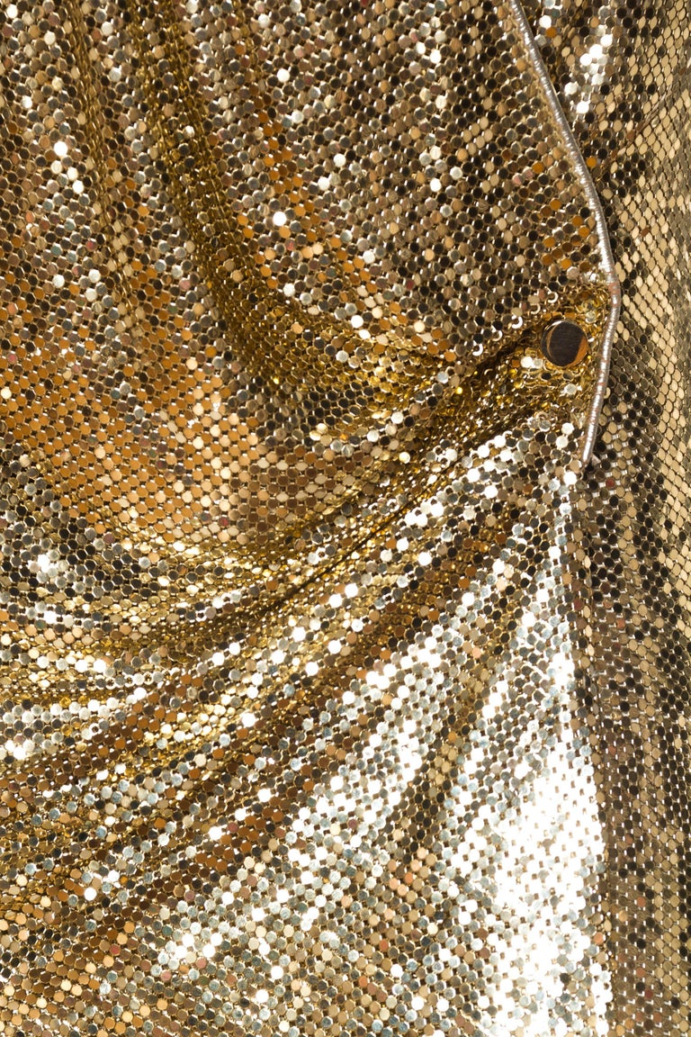 Morphew Backless Gold Metal Mesh Dress For Sale 4
