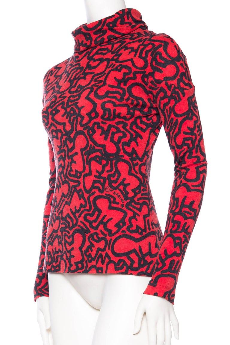 555568531 1980s Jean Charled de Castelbajac Keith Haring Radiant Baby Turtleneck  Sweater In Excellent Condition For Sale