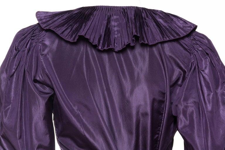 Ruffled Silk Taffeta Duster Coat Wrap Dress, 1970s  For Sale 2