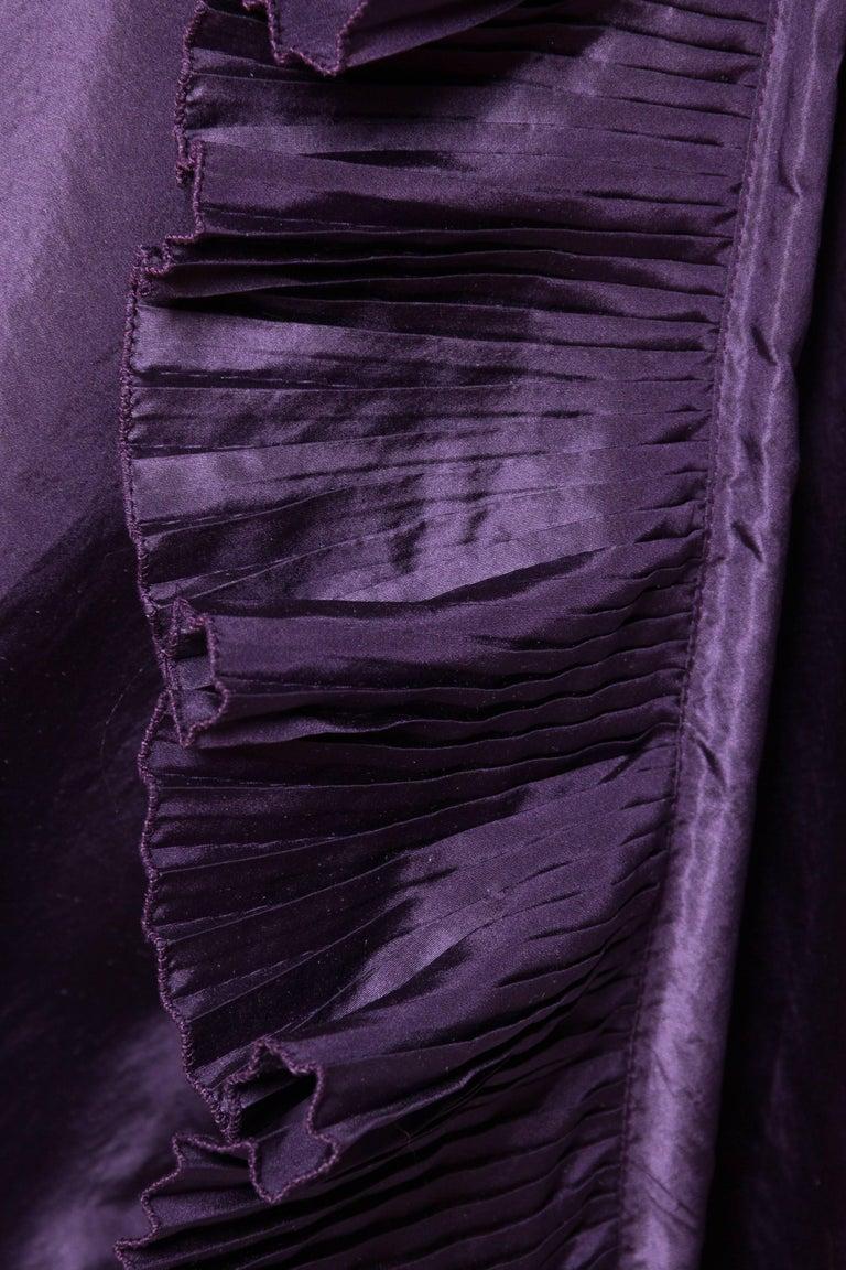 Ruffled Silk Taffeta Duster Coat Wrap Dress, 1970s  For Sale 4