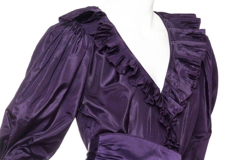 Women's Ruffled Silk Taffeta Duster Coat Wrap Dress, 1970s  For Sale