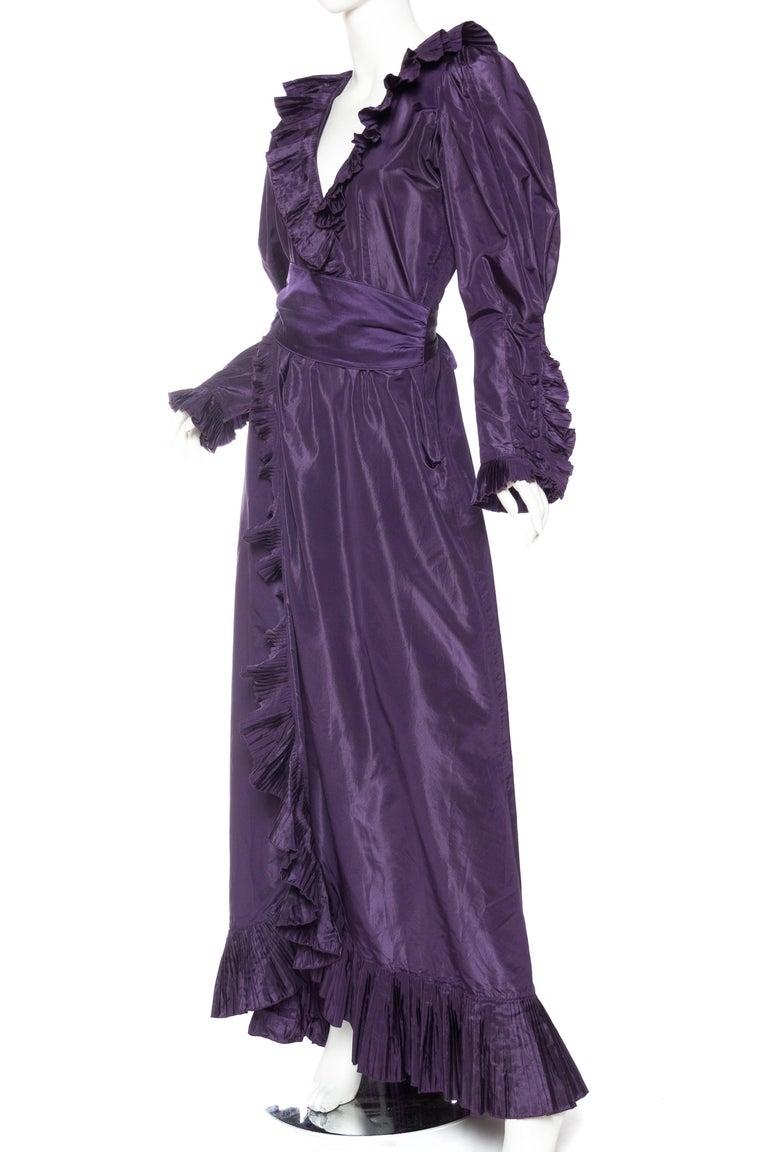 Black Ruffled Silk Taffeta Duster Coat Wrap Dress, 1970s  For Sale
