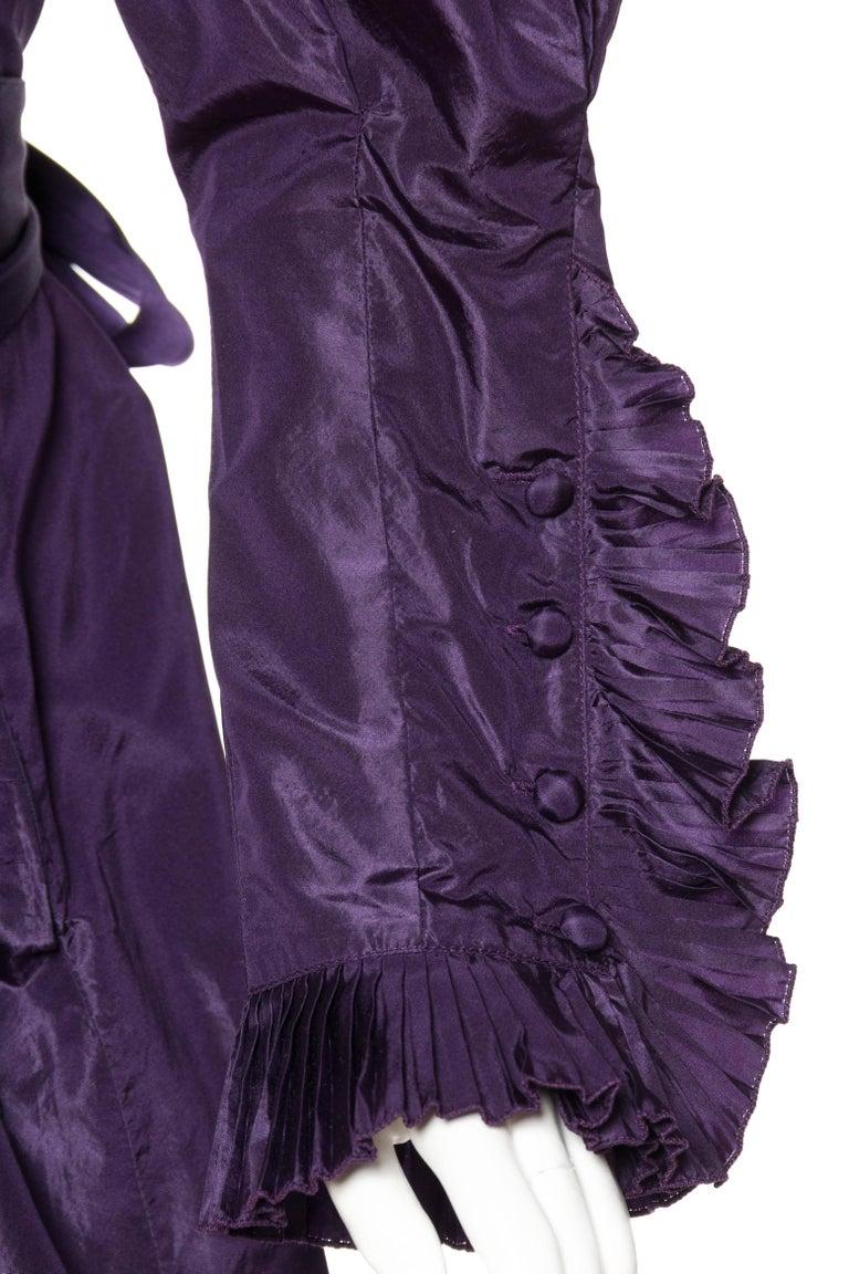 Ruffled Silk Taffeta Duster Coat Wrap Dress, 1970s  For Sale 1