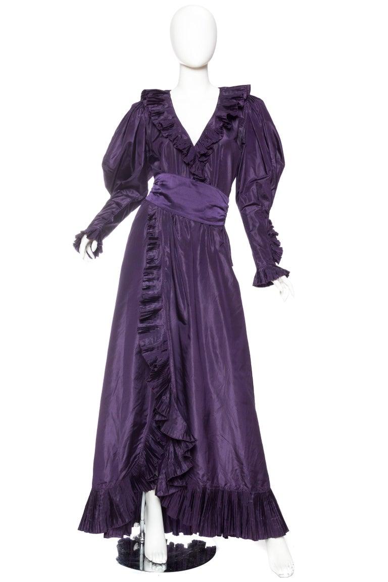 1970s Ruffled Silk Taffeta Duster Coat Wrap Dress