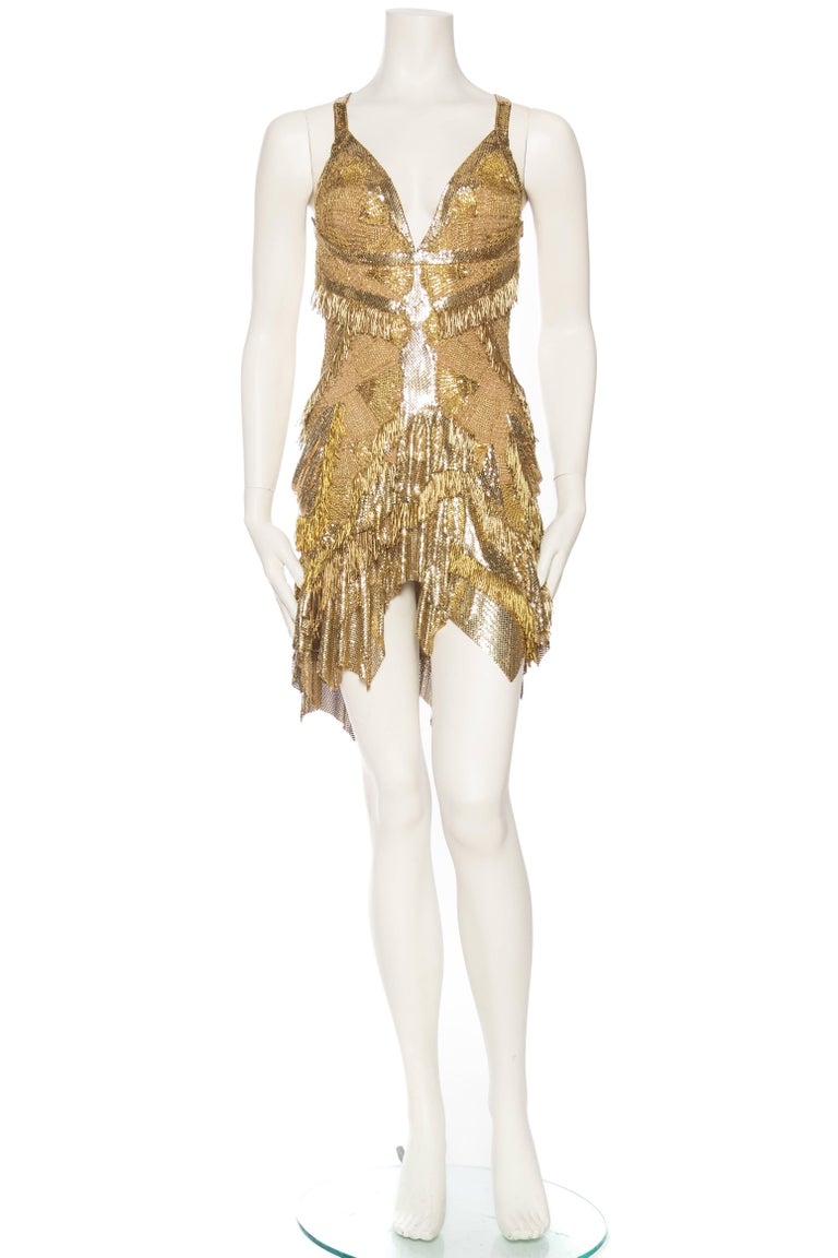 Morphew Collection Jason Lyon Gold Lace And Metal Mesh Fringed Dress In Excellent Condition For Sale In New York, NY