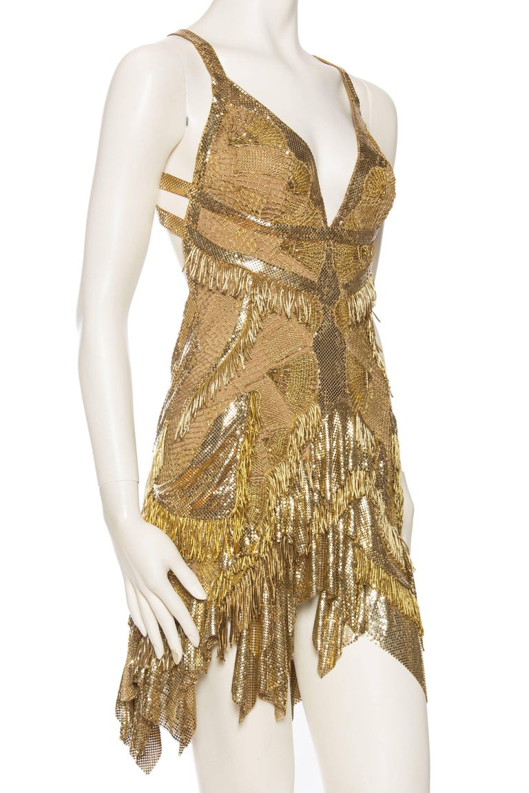 Women's Morphew Collection Jason Lyon Gold Lace And Metal Mesh Fringed Dress For Sale