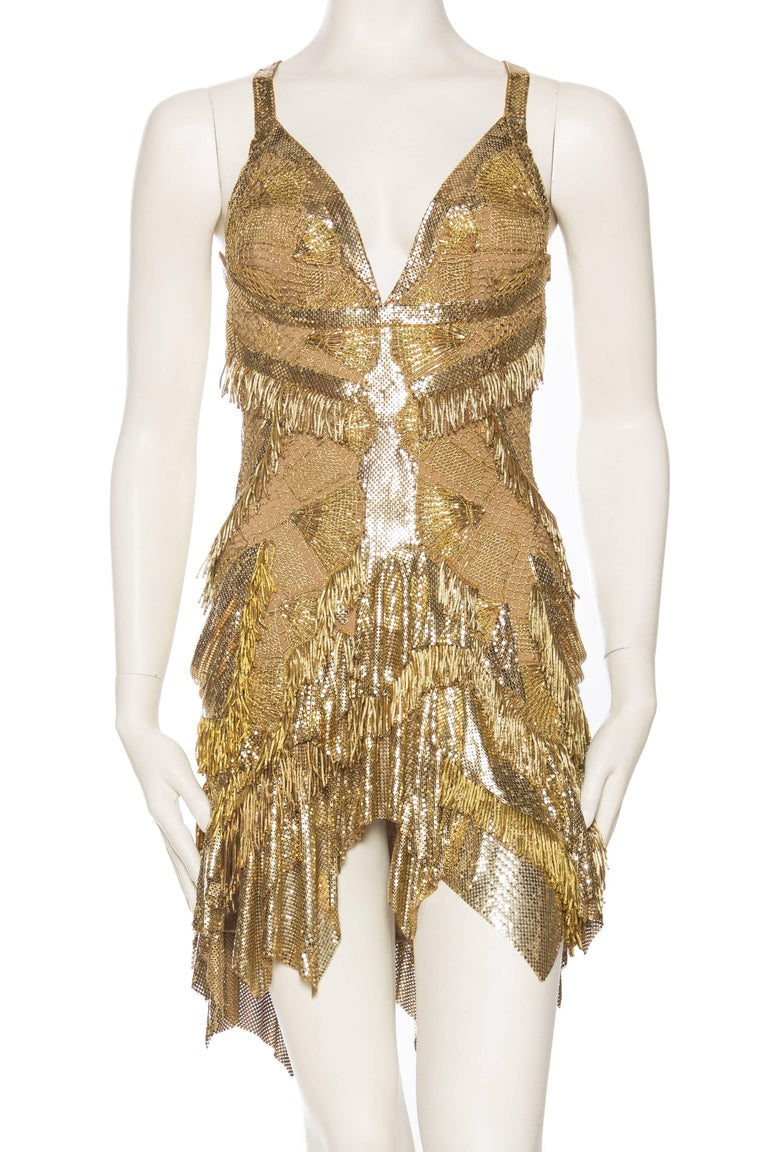 Brown Morphew Collection Jason Lyon Gold Lace And Metal Mesh Fringed Dress For Sale