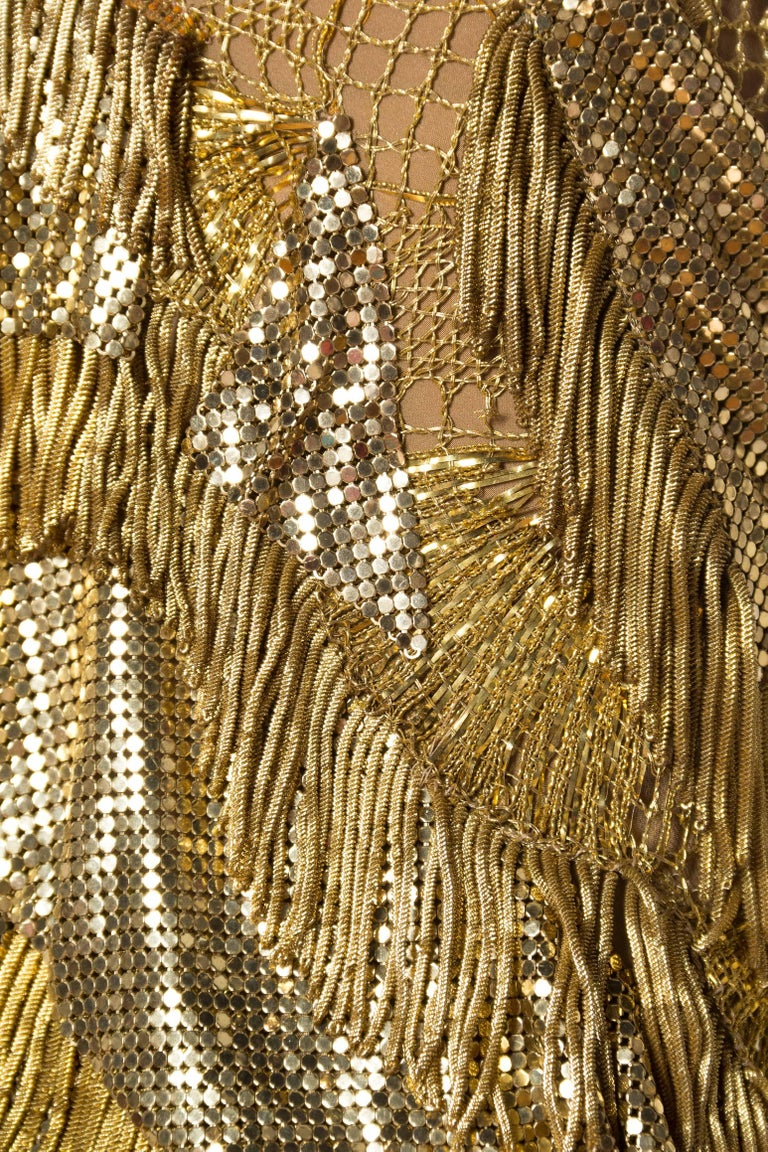 Morphew Collection Jason Lyon Gold Lace And Metal Mesh Fringed Dress For Sale 6