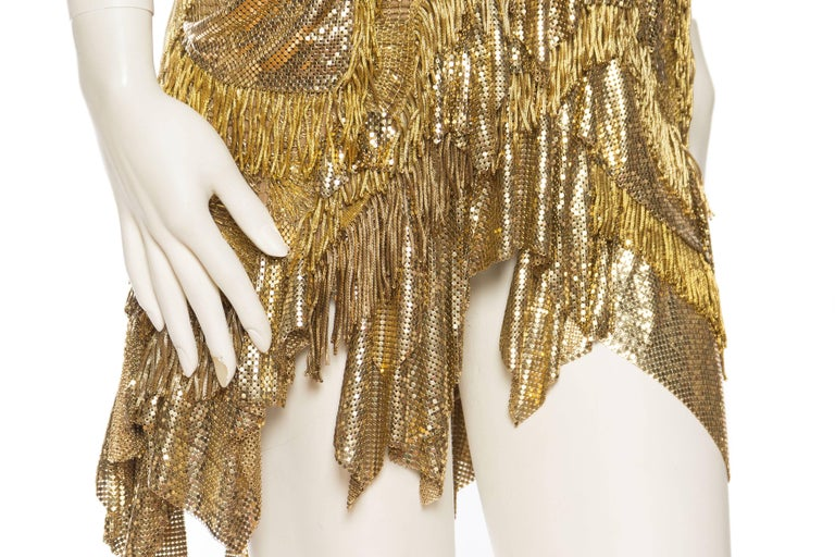 Morphew Collection Jason Lyon Gold Lace And Metal Mesh Fringed Dress For Sale 4