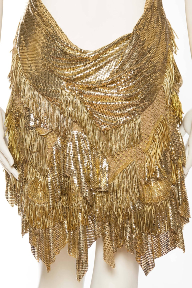 Morphew Collection Jason Lyon Gold Lace And Metal Mesh Fringed Dress For Sale 5