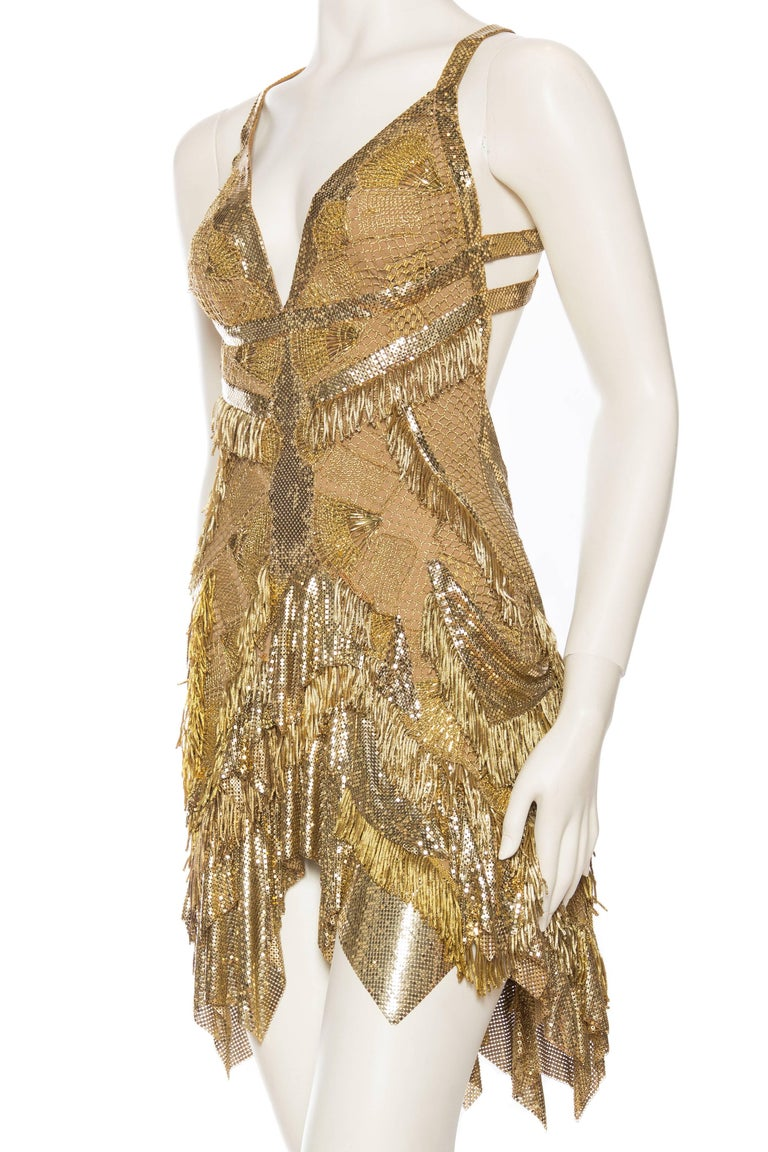 Morphew Collection Jason Lyon Gold Lace And Metal Mesh Fringed Dress For Sale 1