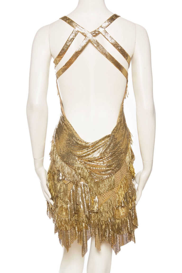 Morphew Collection Jason Lyon Gold Lace And Metal Mesh Fringed Dress For Sale 2