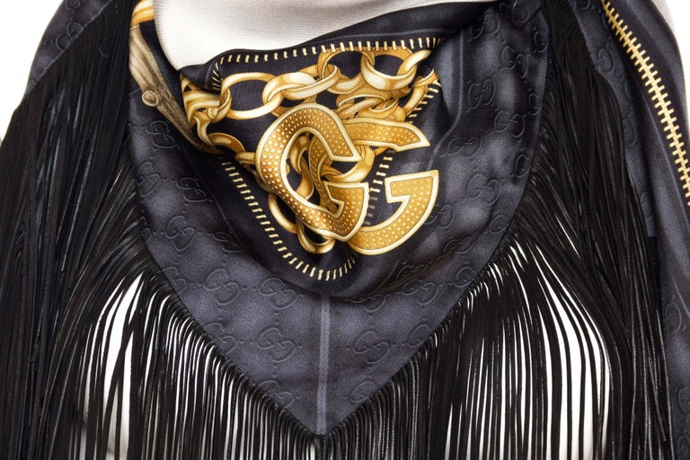 Black GG Tom Ford Gucci Fringed Gold Status Print Scarf For Sale