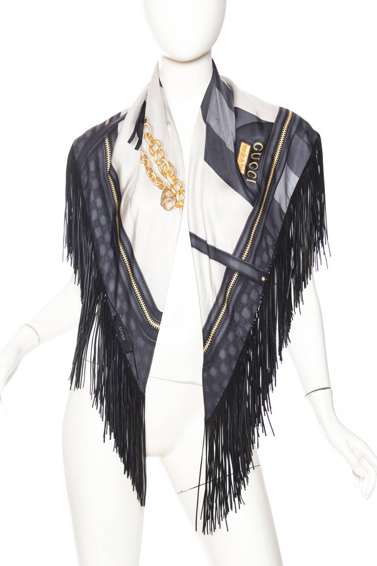 Women's or Men's GG Tom Ford Gucci Fringed Gold Status Print Scarf For Sale