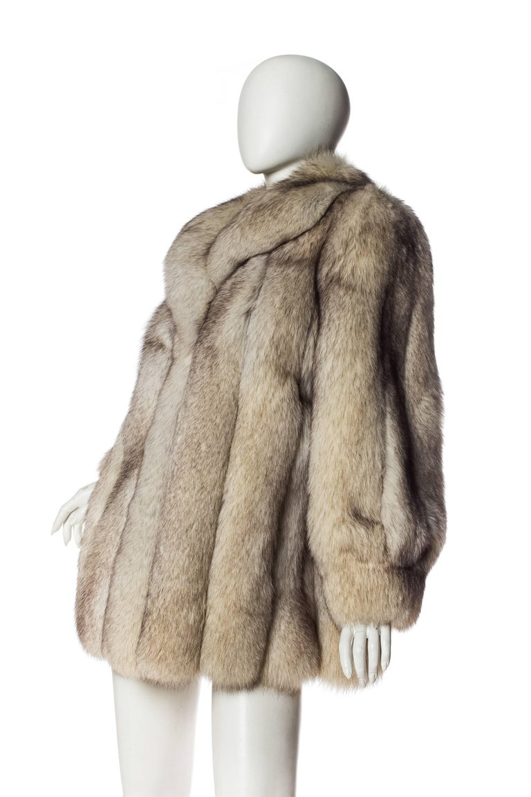 Brown 1980S Silver Fox Fur Coat For Sale