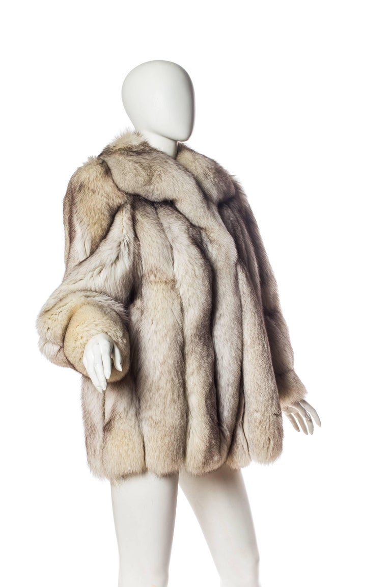 1980S Silver Fox Fur Coat For Sale 1