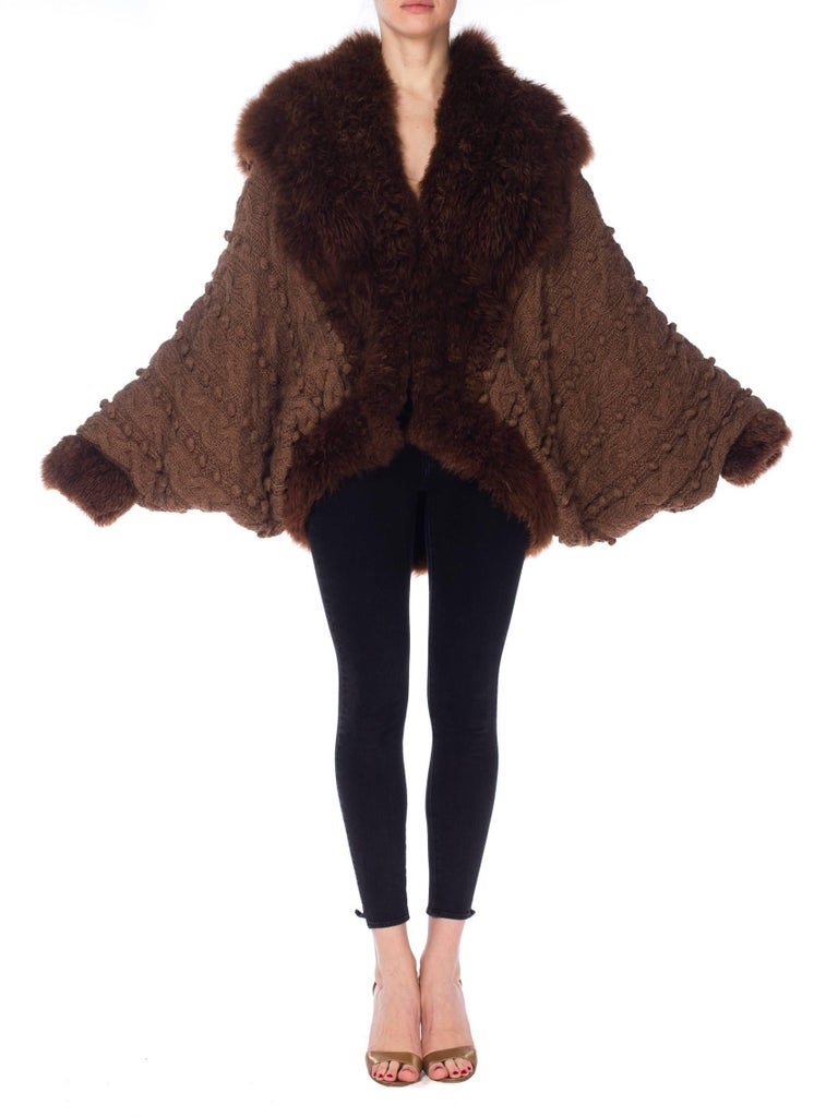 1980s Dolman Knit and Fur Coat