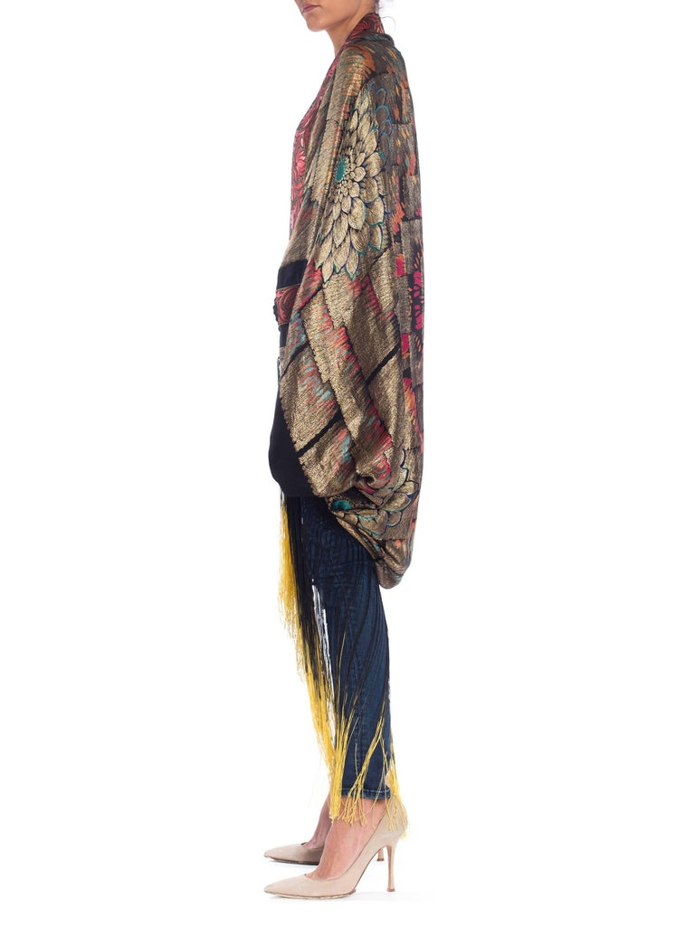 Fantastic cocoon coat made from antique silk and metal lamé with ombré dyed fringe.