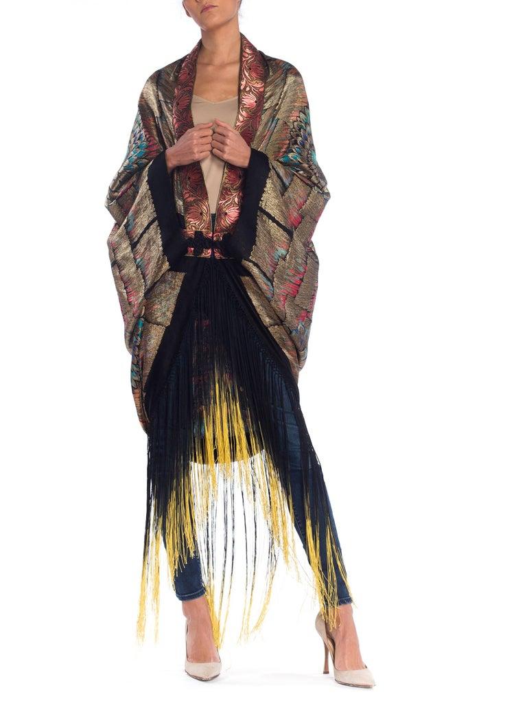 Women's Antique Art Deco Gold Lamé  Cocoon Coat with Fringe For Sale
