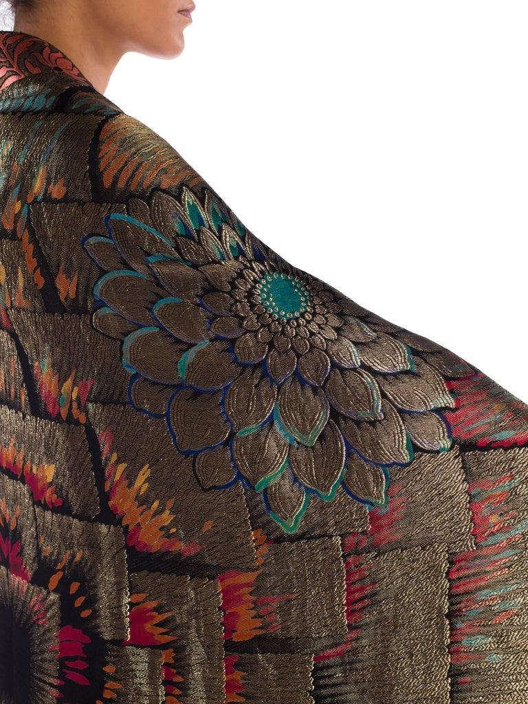 Antique Art Deco Gold Lamé  Cocoon Coat with Fringe For Sale 5
