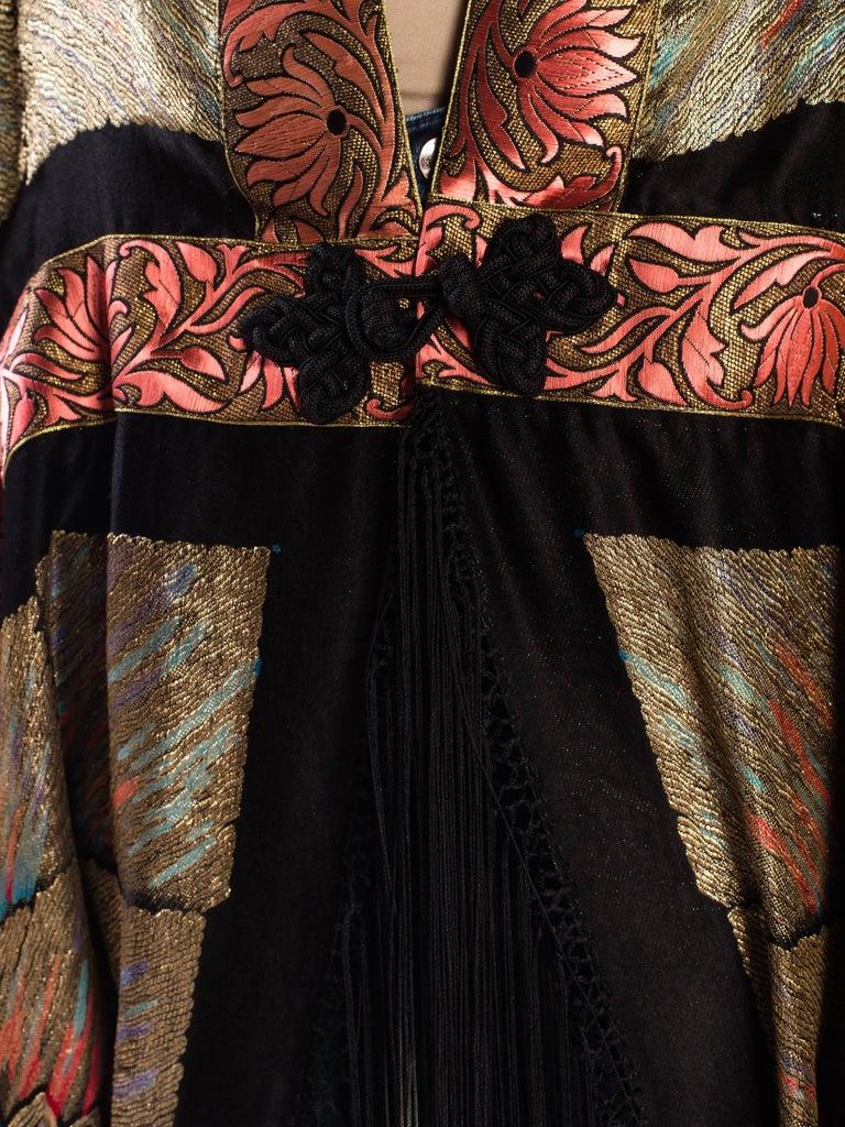 Antique Art Deco Gold Lamé  Cocoon Coat with Fringe For Sale 3