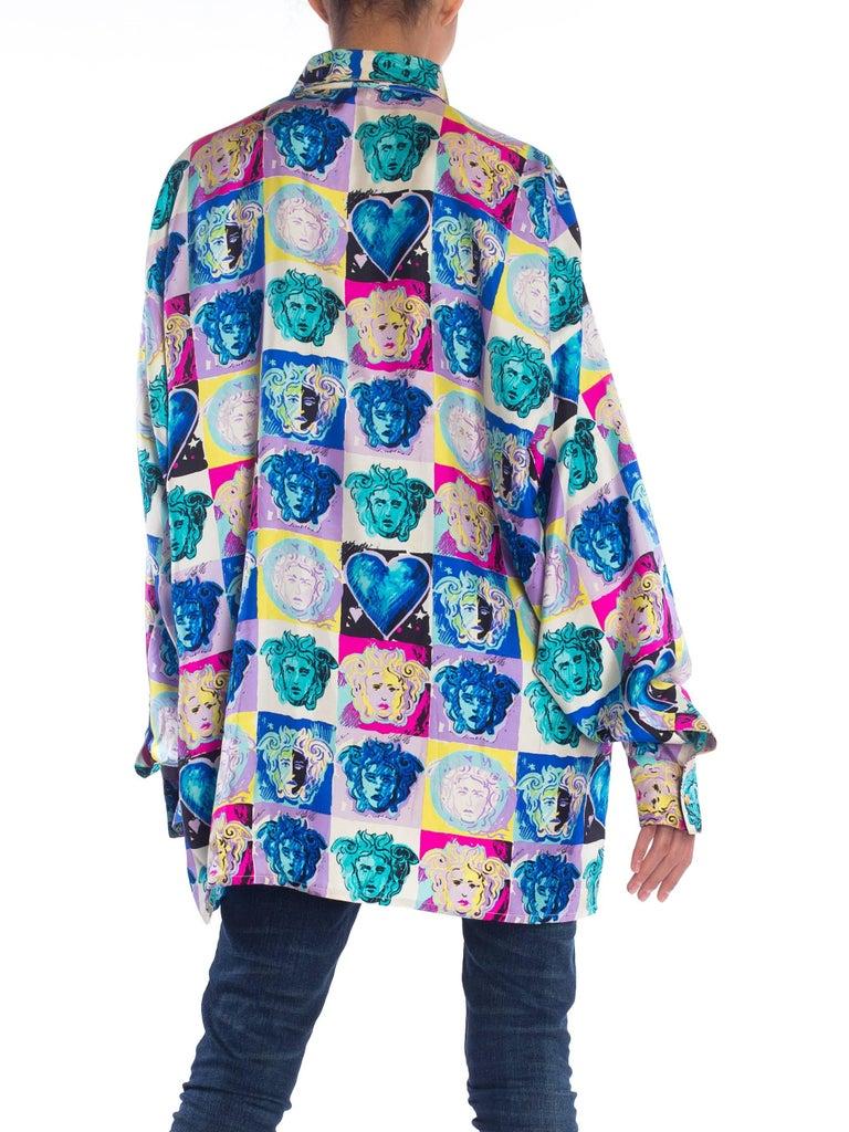 Gray Gianni Versace Medusa and Heart Print Silk Shirt, 1990s  For Sale