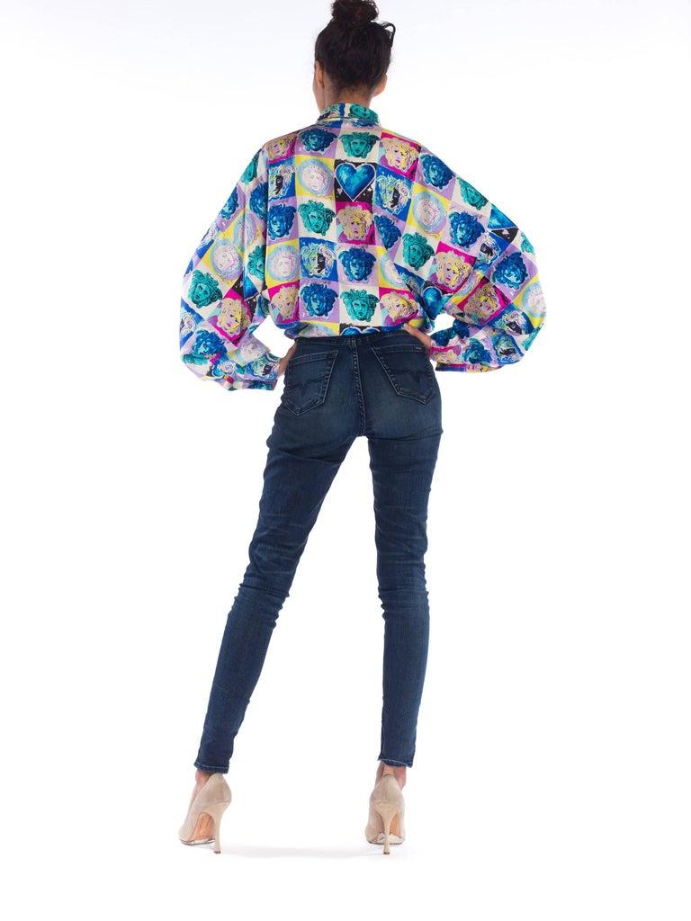 Gianni Versace Medusa and Heart Print Silk Shirt, 1990s  For Sale 1