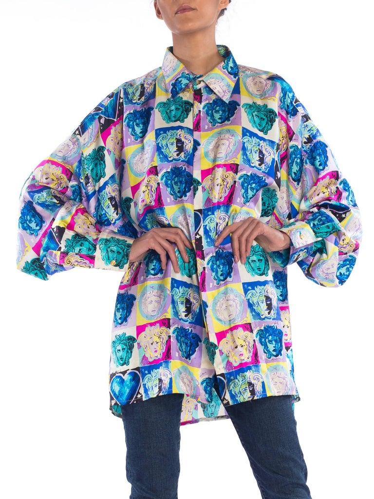 Women's or Men's Gianni Versace Medusa and Heart Print Silk Shirt, 1990s  For Sale