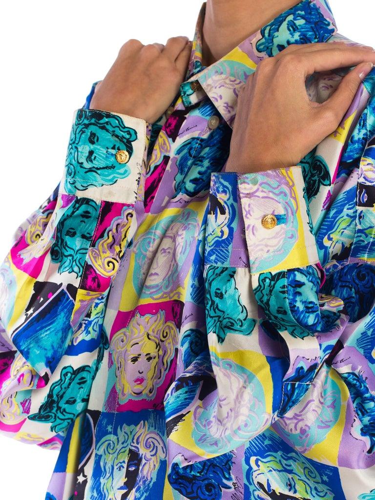 Gianni Versace Medusa and Heart Print Silk Shirt, 1990s  For Sale 5