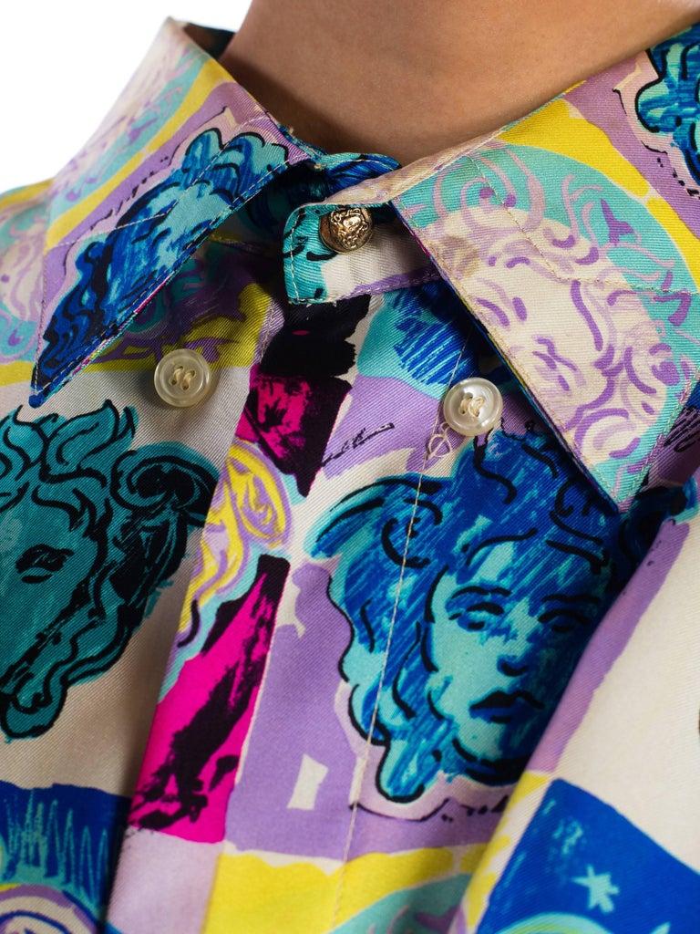 Gianni Versace Medusa and Heart Print Silk Shirt, 1990s  For Sale 3