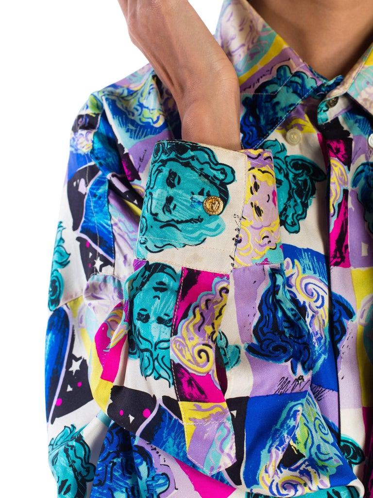 Gianni Versace Medusa and Heart Print Silk Shirt, 1990s  For Sale 2