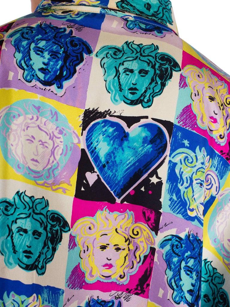 Gianni Versace Medusa and Heart Print Silk Shirt, 1990s  For Sale 4