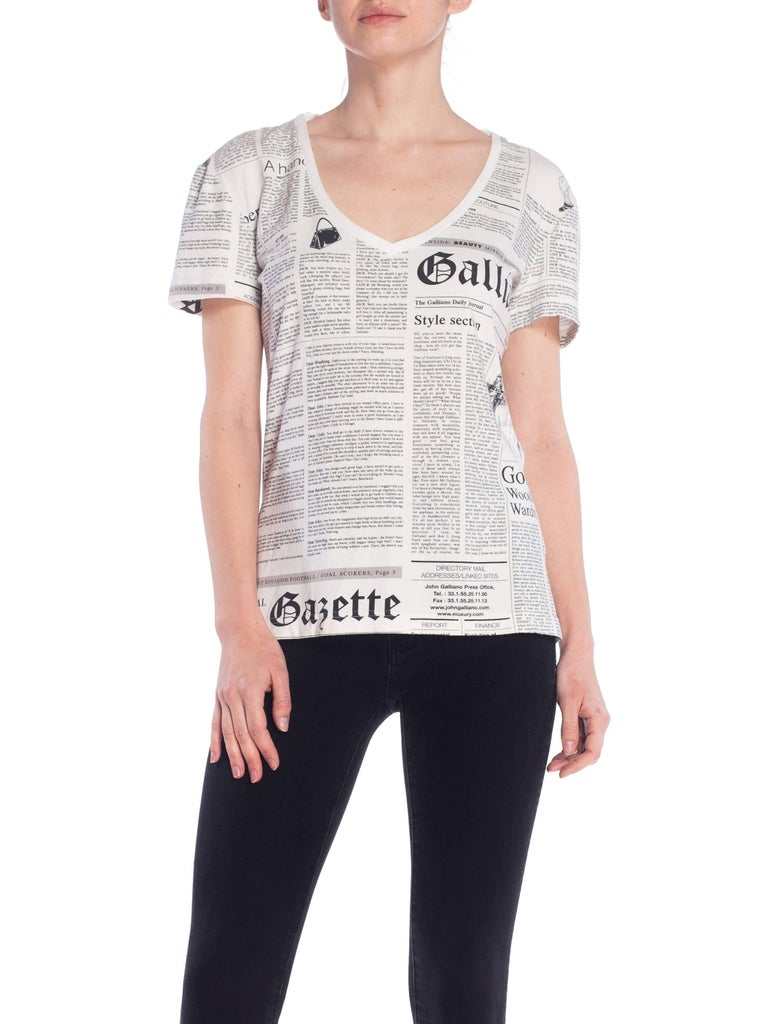 John Galliano Gazette Newspaper Print T-Shirt In Good Condition For Sale In New York, NY