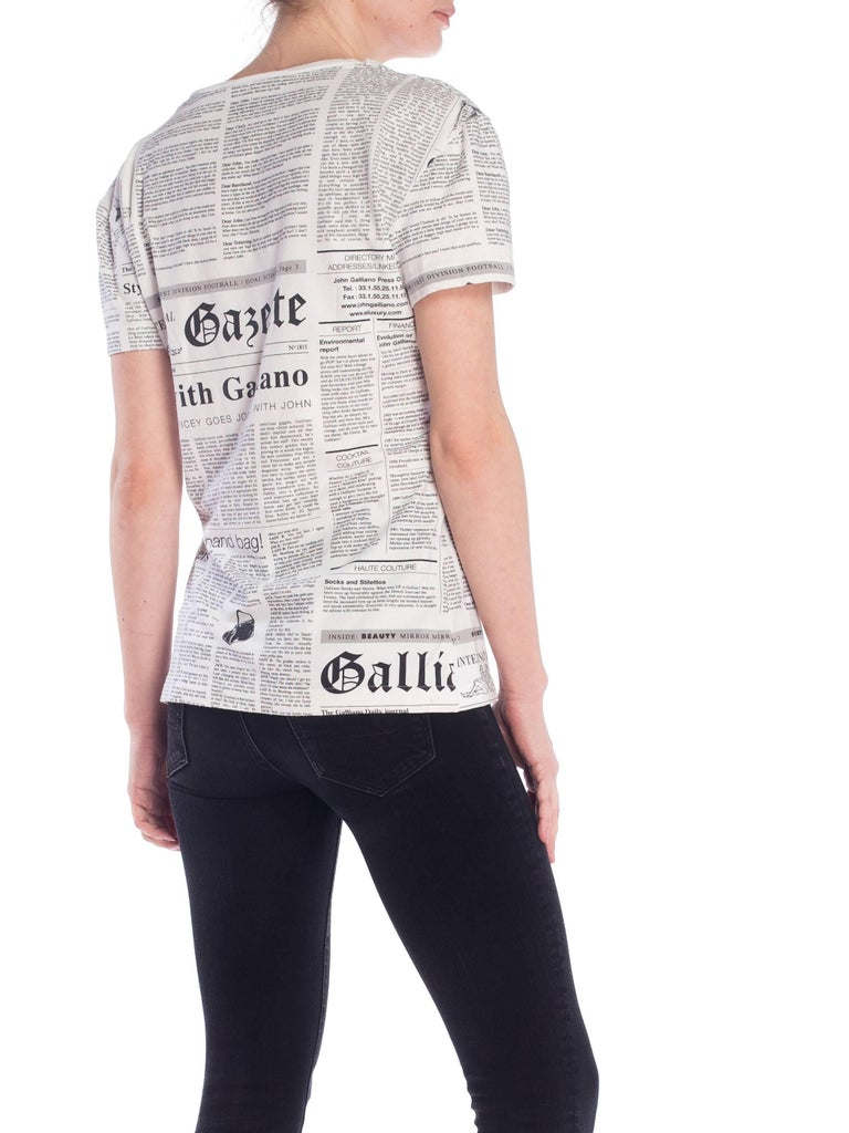 John Galliano Gazette Newspaper Print T-Shirt For Sale 1