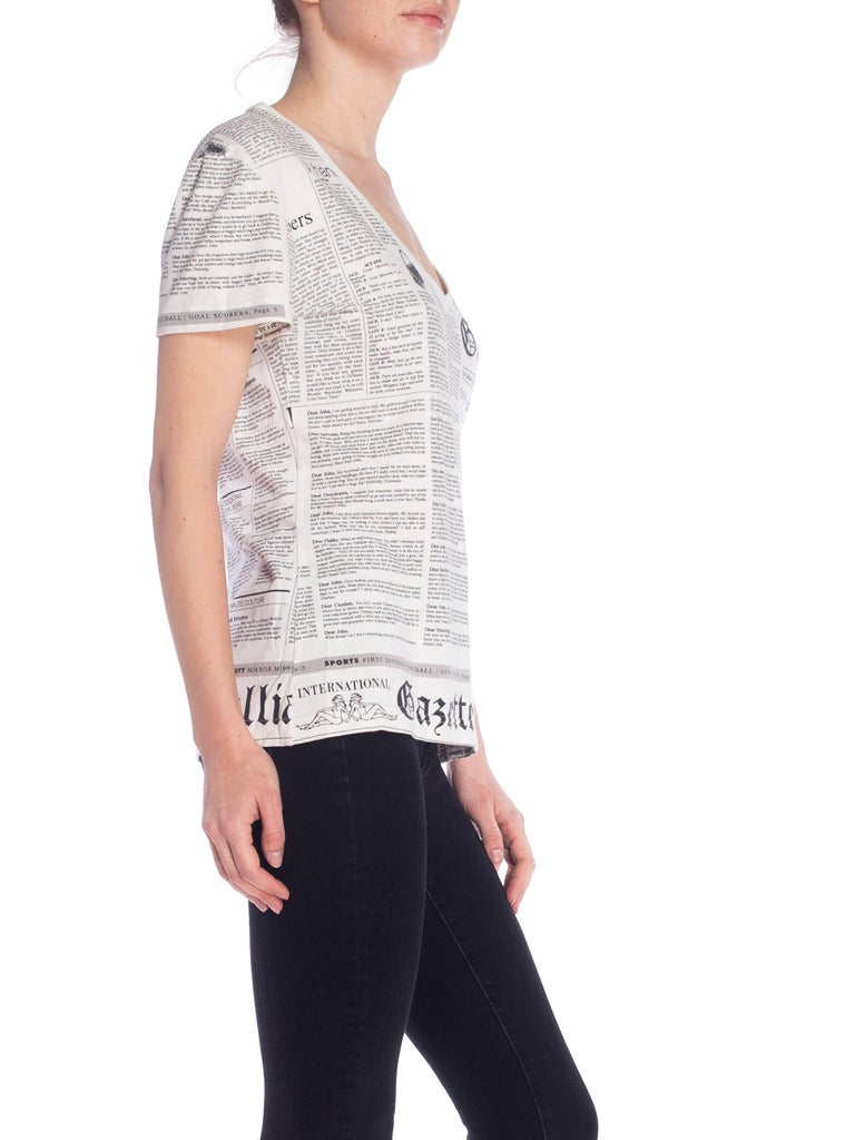 Women's or Men's John Galliano Gazette Newspaper Print T-Shirt For Sale