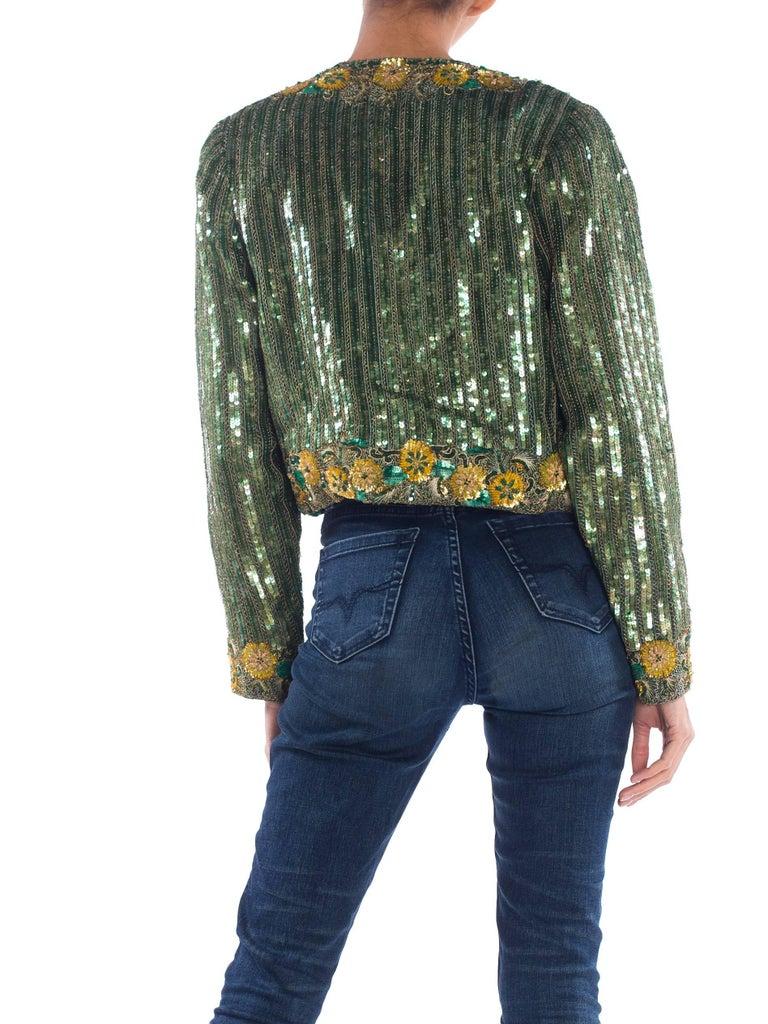 Gray Richilene Hand Beaded Silk Jacket    For Sale