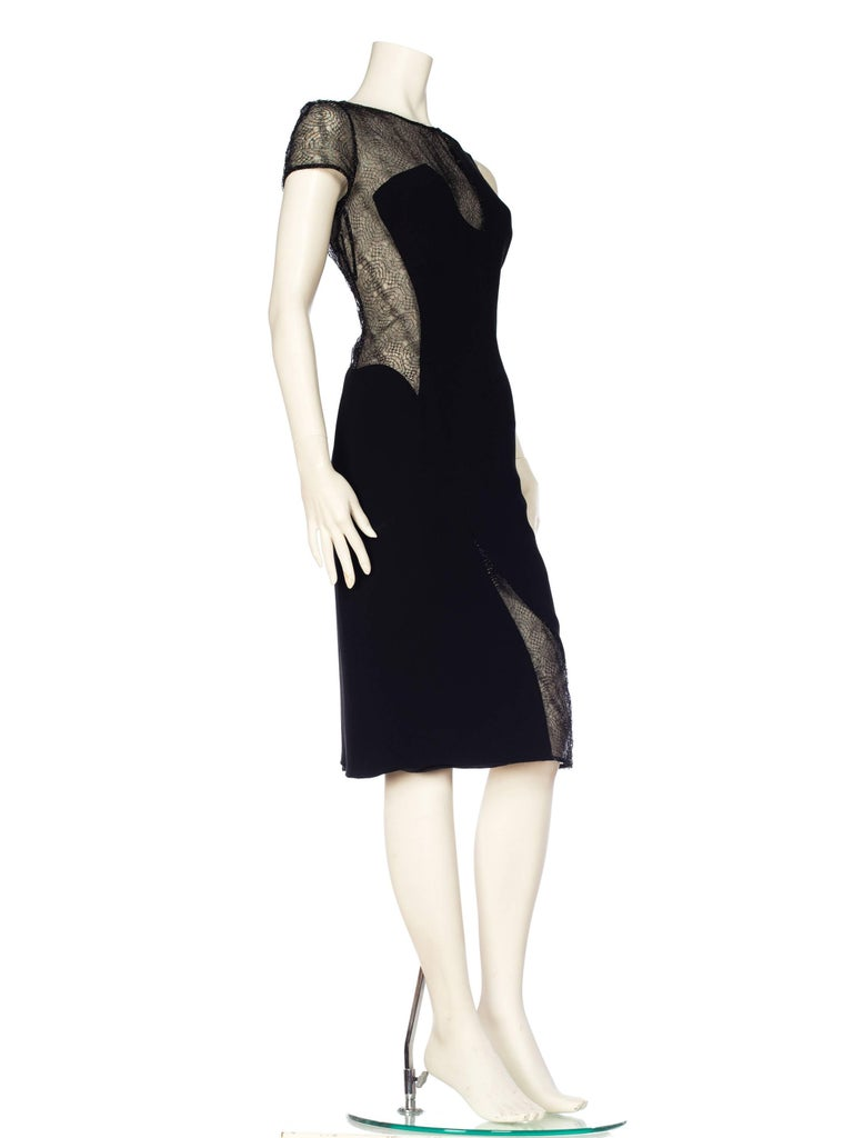 1990s Gianni Versace Couture Sheer Lace Dress In Excellent Condition For Sale In New York, NY