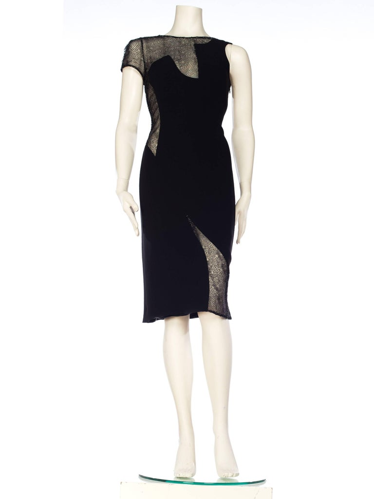Black 1990s Gianni Versace Couture Sheer Lace Dress For Sale