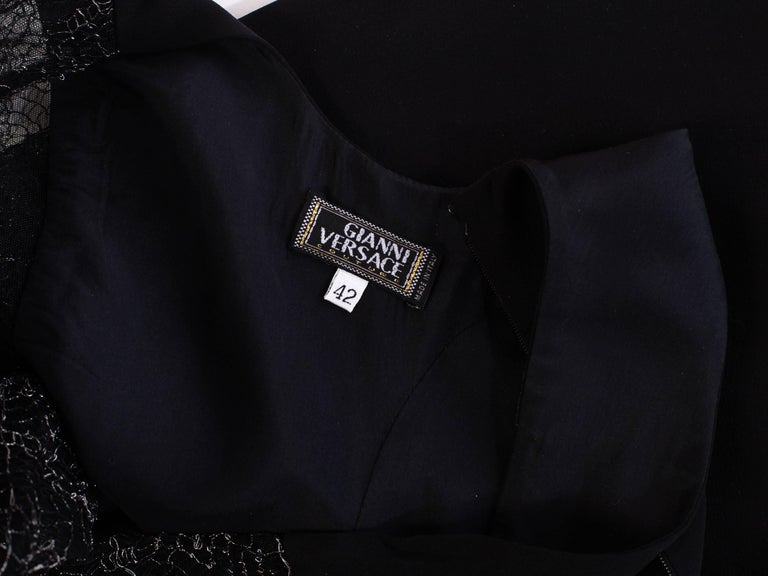 1990s Gianni Versace Couture Sheer Lace Dress For Sale 6