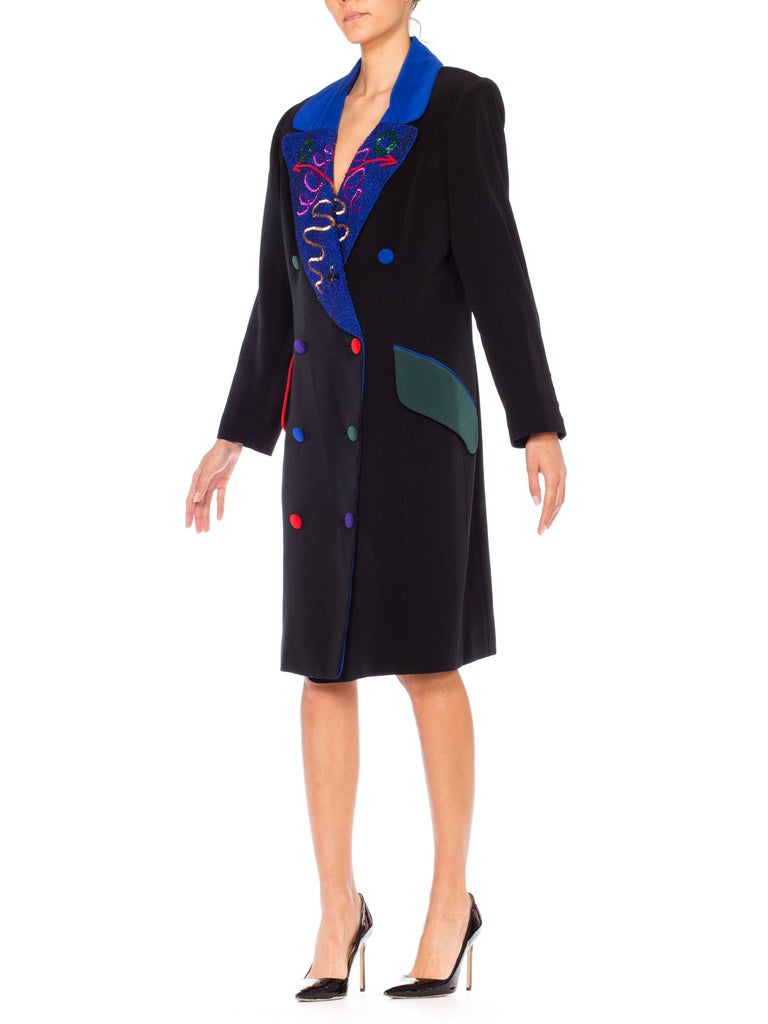 Black Fabrice Beaded Blazer Working Girl Dress, 1980s  For Sale