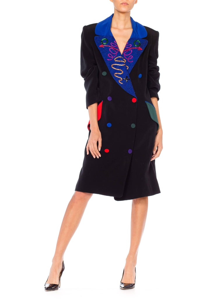 1980s Fabrice Beaded Blazer Working Girl Dress
