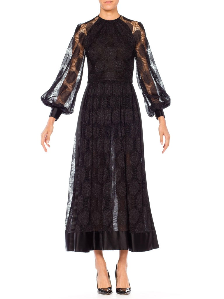 1960s James Galanos Sheer Metallic Mod Lace Dress with slits up sides